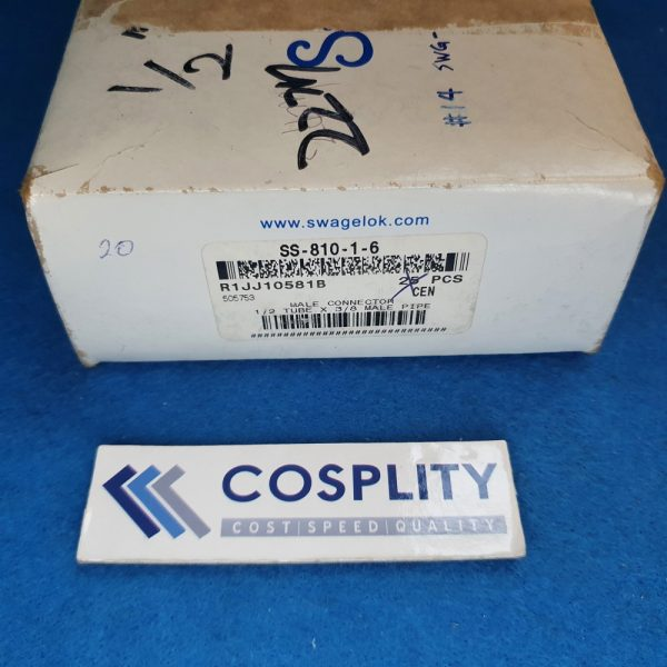 SWAGELOK SS-810-1-6 MALE CONNECTOR 1/2 TUBEV X 3/8 MALE PIPE LOT OF 27