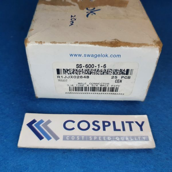 SWAGELOK SS-600-1-6 MALE CONNECTOR 3/8 TUBE X 3/8 MALE PIPE LOT OF 20